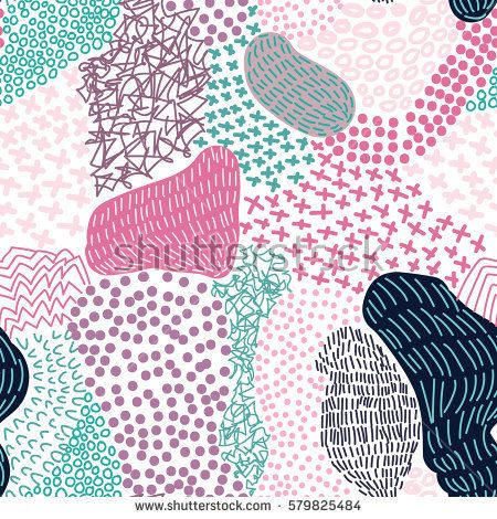 Vector seamless creative pattern with hand draw abstract composition in modern style. Pink, grey and blue colors. Background for printing brochure, poster, print, card, web, magazines, wallpapers.