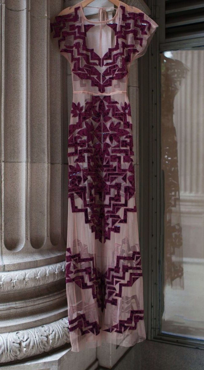Violet Purple & blush geometric floral design maxi dress.