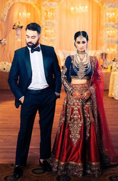 """""""My heart is and will always be yours"""" Here's a look at our beautiful couple Jina and Sharn on their wedding day. Our client Jina looks like absolute royalty in this stunning lehenga we had the pleasure of custom designing for her BIG day! Congratulations to you both! Wishing you a lifetime of love and happiness! ❤️"""