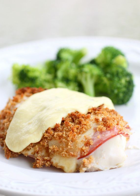 Easy Chicken Cordon Bleu with Parmesan-Dijon sauce.  The sauce is a nice added touch!  Really good with pepper jack vs. swiss.