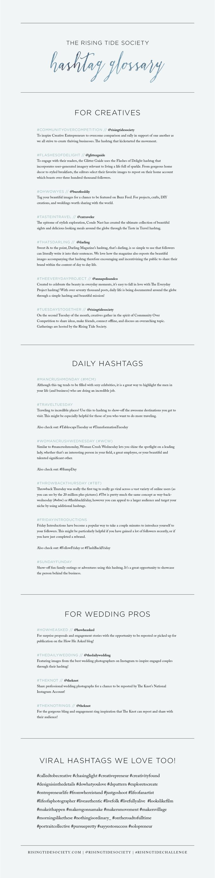 The Best Instagram Hashtags for Creative Entrepreneurs via The Rising Tide Society // #marketing #entrepreneurs #photographers