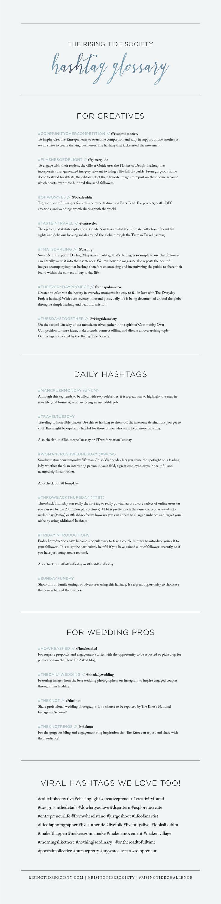 The Best Instagram Hashtags for Creative Entrepreneurs via The Rising Tide Society // #marketing #entrepreneurs #photographers