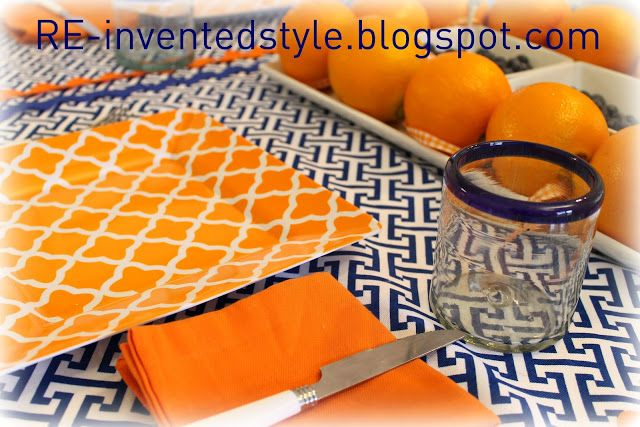 RE-invented style: RE-ceiving Guests: Navy and Orange Breakfast Table