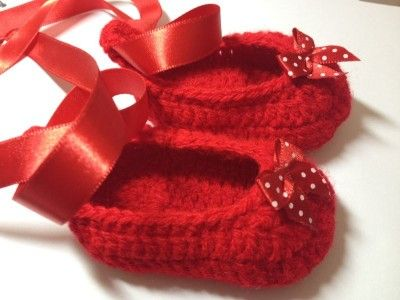 Baby Ruby Red Ballerina Slippers Free Crochet Pattern