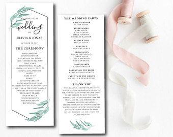 Greenery Geometric Wedding Programs Template, Printable Wedding Program, Garden Theme, Wedding Ceremony Program Template, Editable Wedding