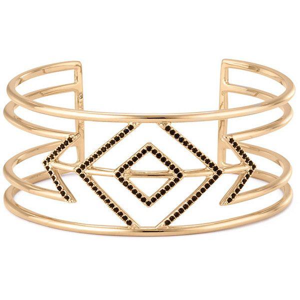 Stella & Dot Pavé Sphinx Cuff ($79) ❤ liked on Polyvore featuring jewelry, bracelets, polish jewelry, cuff bracelet, cuff jewelry, geometric cuff bracelet and black jewelry