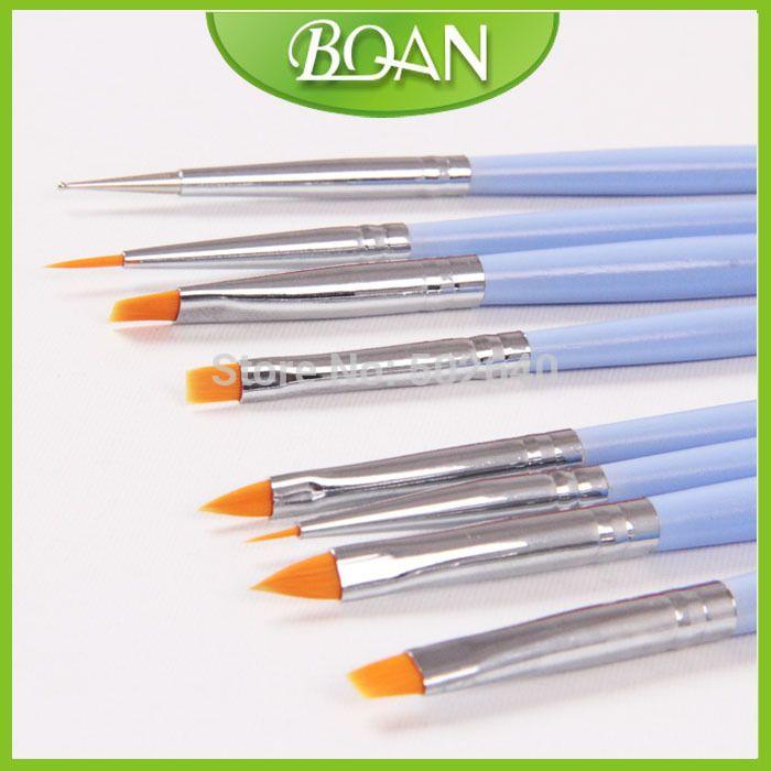 Free Shipping Wholesale 8PCS Blue Nylon Hair Nail Product Wooden Nail Brush Set