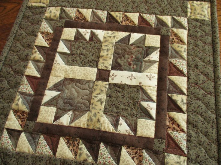 Mini Bear Paw Quilt, Rustic Wall Quilt, Bear Paw Quilted Table Topper, Fabric Wall Hanging, Traditional Quilt, Neutral Wall Hanging by MommaBearsQuilts on Etsy