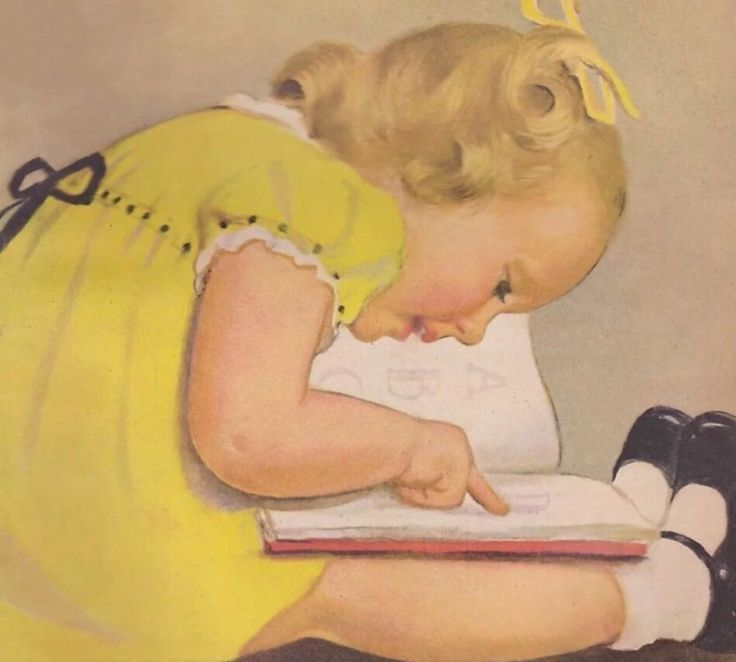 Маленькая девочка учится читать. Изображение из старого журнала.  #книги #чтение #books #readingcomua #книга #искусство #art #дети #children #ретро