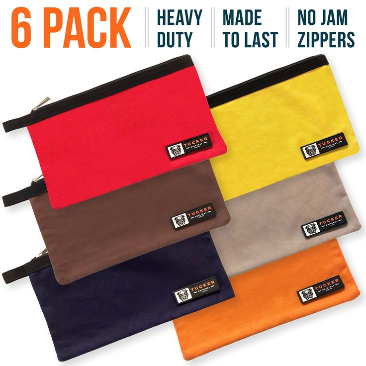 "6-Pack Heavy Duty Canvas Tool Bags (12"" x 7"") 