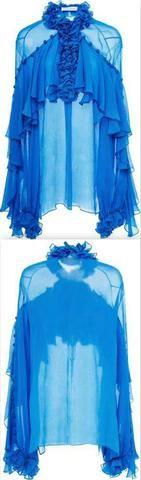 'Frankie' Long Sleeve V-Neck Ruffle Blouse
