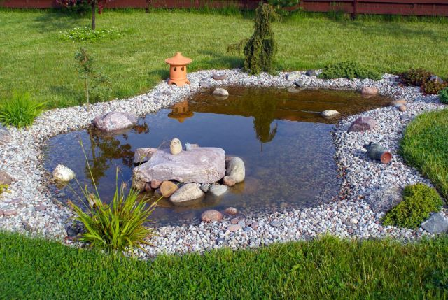 This little pond looks like it's just popped out of the ground for your enjoyment. Plastic liner, pea gravel, a simple filter, and any other little details you want to add are all it takes to have your own tranquil reflecting pool.