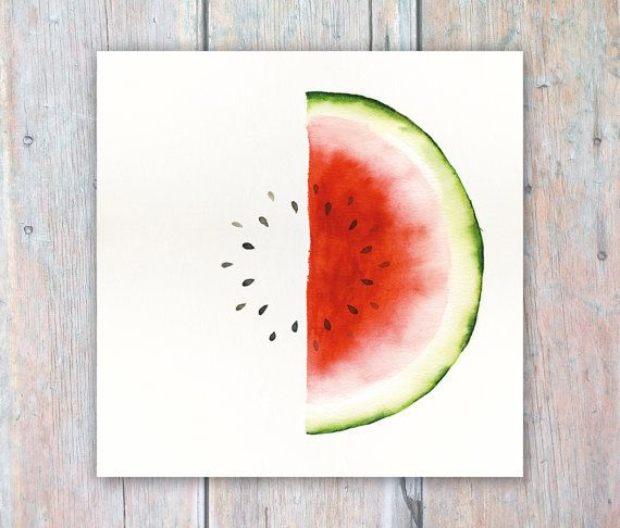Watermelon Watercolour Painting Kitchen Art Cafe Decor 7x7 inch print - Fruit and Veg Study