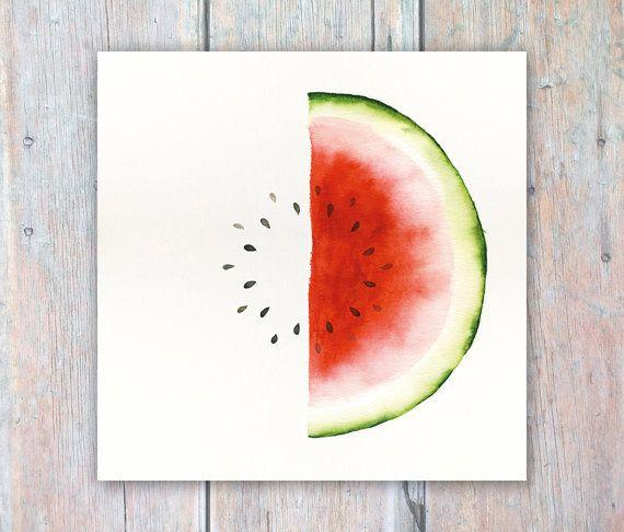 Watermelon Watercolour Painting Kitchen Art Cafe Decor 7x7 inch print - Fruit and Veg Study