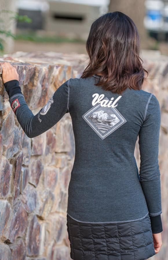 Pay homage to Vail Mountain and Vail Ski Resort in the Vintage Vail Crew. On the back of the shirt find the Vail mountain on a diamond shaped patch. Additional snowflake detailing embodies the local Vail lifestyle.75% Cotton 25% Polyester double faced fabric.