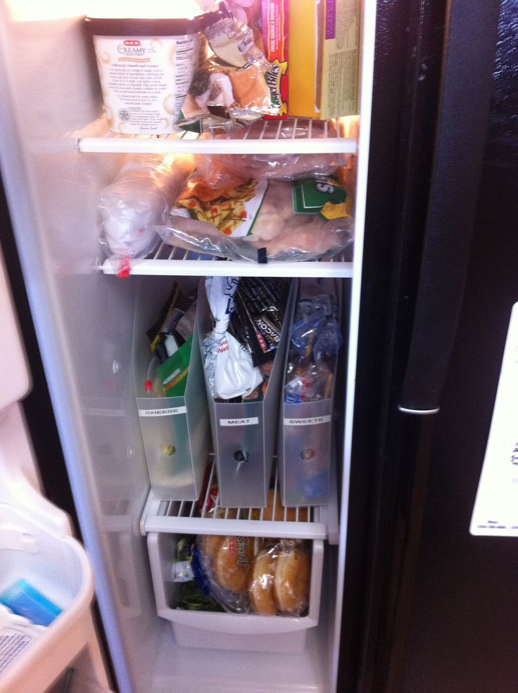 Freezer Organization Using Magazine Holders Fridge