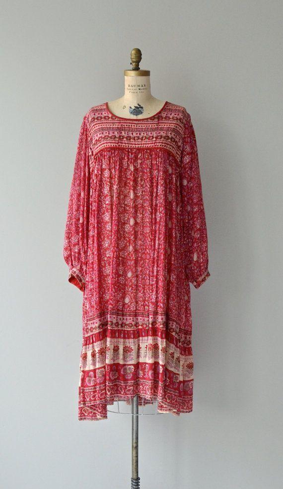 Drishti Kleid 70er Jahre Indische Baumwolle Kleid Vintage 70er