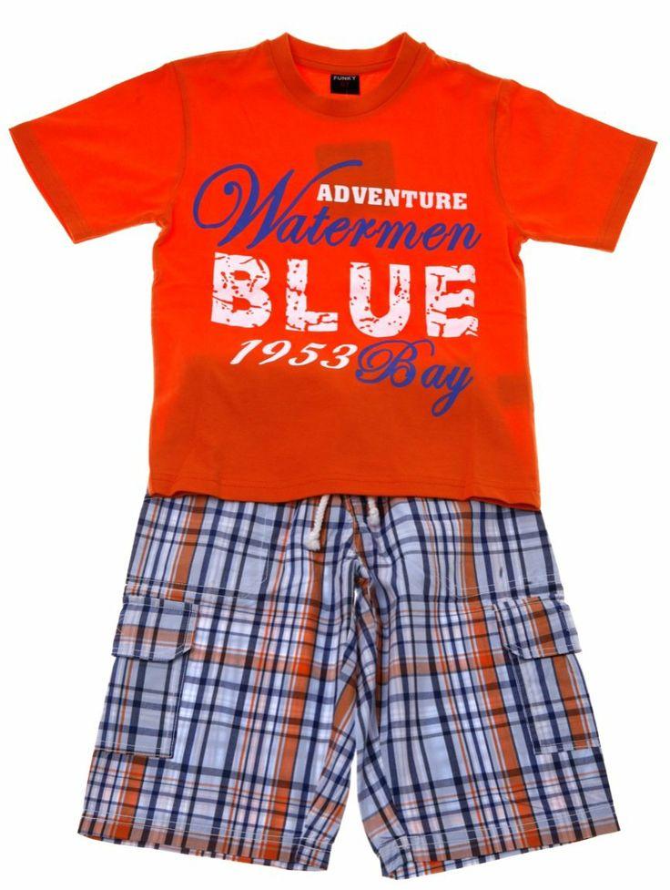 Παιδικά ρούχα AZshop.gr - Funky παιδικό σετ μπλούζα-παντελόνι βερμούδα «Watermen» €18,90