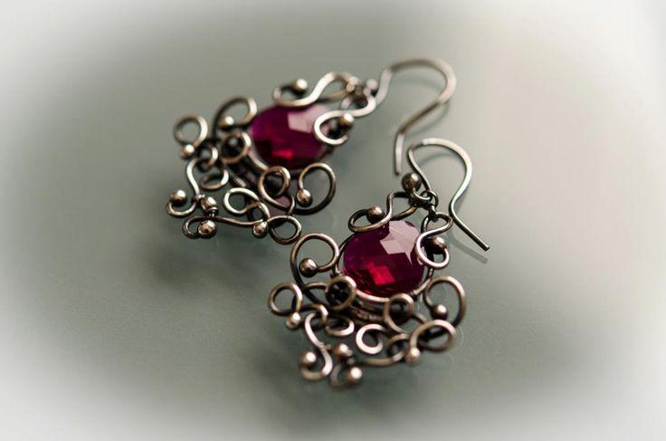Celestyal crystal silver earring wire wrapped silver earring