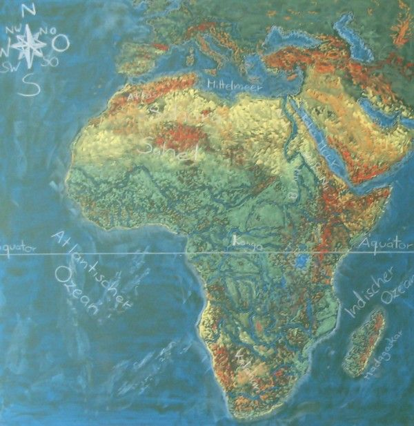 Waldorf ~ ? grade ~ Africa ~ Map ~ chalkboard drawing