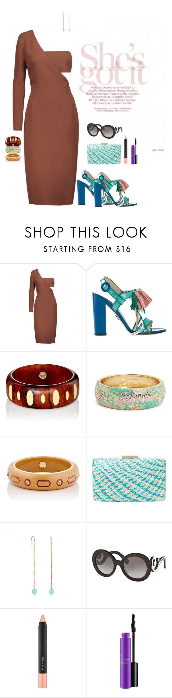 """Ribera."" by srtagraham ❤ liked on Polyvore featuring Cushnie Et Ochs, Paul Andrew, Mark Davis, Sequin, Kayu, TOUS, Prada and MAC Cosmetics"