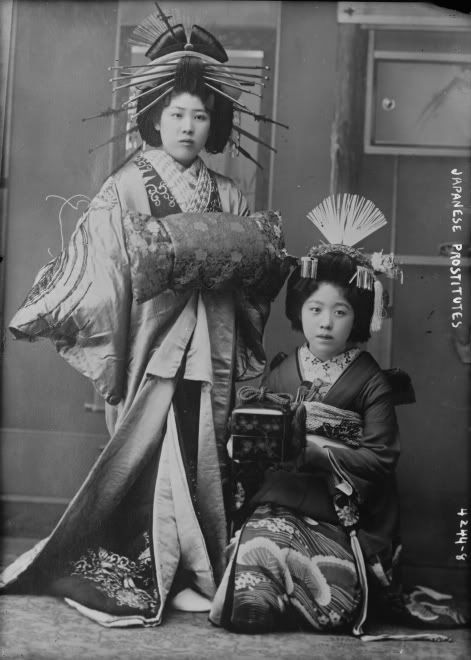 "1890's - Oiran (花魁) were courtesans in Japan. The oiran were considered a type of yūjo (遊女) ""woman of pleasure"". S)"