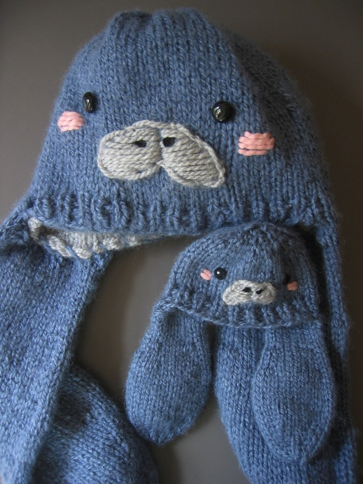 Manatee Hat - Cute Animal Knit Earflap Beanie. $46.00, via Etsy.