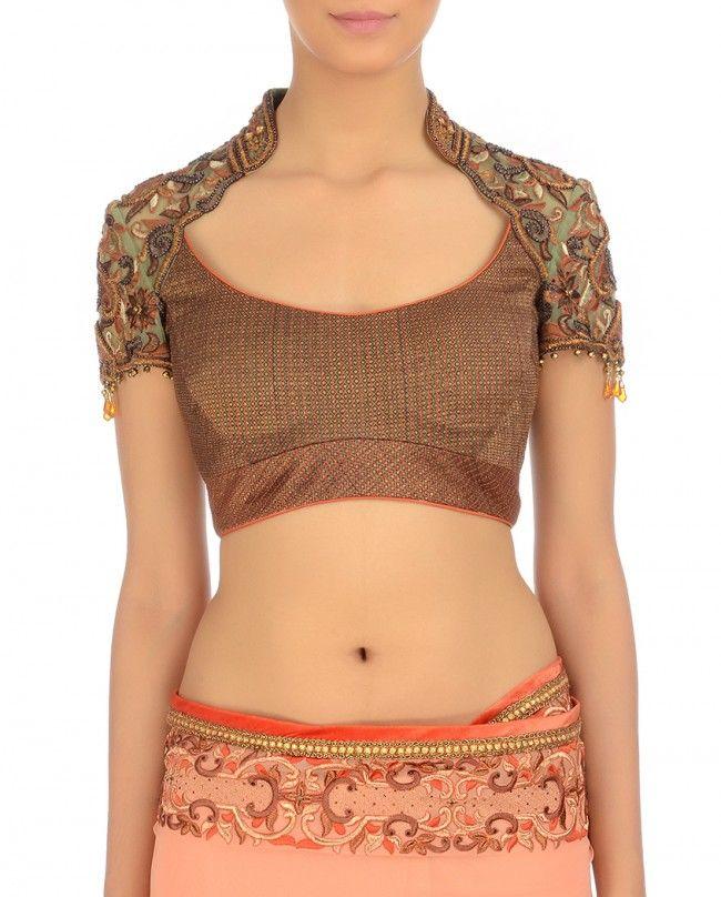 Salmon Orange Charminar Sari - Occasion Wear - Shop Women Tarun Tahiliani