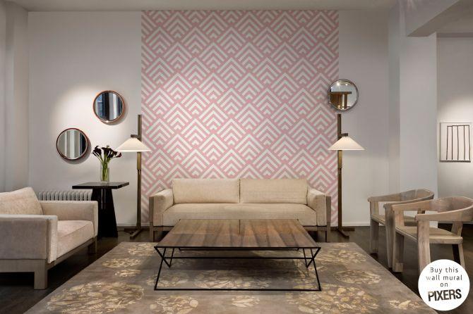Papier peint Corners Rose - inspiration papier peint, la galerie des intérieurs• PIXERS.fr