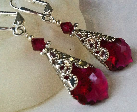 New Swarovski Ruby Red Crystal Silverplate by HisJewelsCreations, $28.00