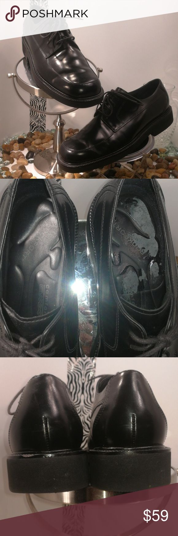 Rockport Mens 9.5 Black Leather Oxford Shoes Pre-owned item in excellent condition. Worn once. Shoes has a small chip on back of left shoe and the sole in left shoe is also chipped due to having Dr. Scholls insoles place in them.  Please see all pics to see details and defects. I'm available to answer any questions you may have about this item. Rockport Shoes Oxfords & Derbys