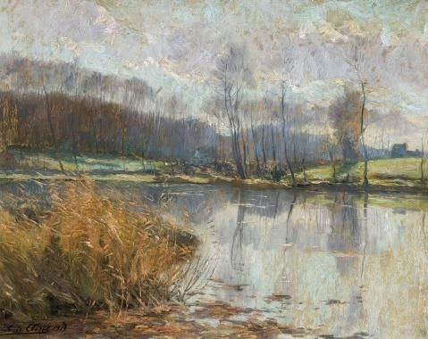 Artwork by Louis Clesse, A pond at the Rouge-Cloître at Oudergem, Made of Oil on cardboard