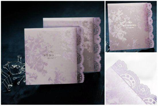 18 Spitze Einladungen Zur Hochzeit Violett Elegant Klassisch, Einladungs