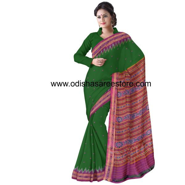 This is the latest designed traditional silk saree with best colour combination of deep green & pink. It gives you a very beautiful look.