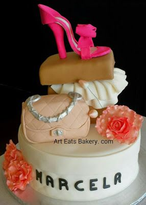 #Lady's #fashion custom unique #birthday #cake design with edible pink fondant #shoe, shoebox cake, #handbag and #flowers. Http://www.arteatsbakery.com.  #Greenville #taylors #Bakery #SC #best