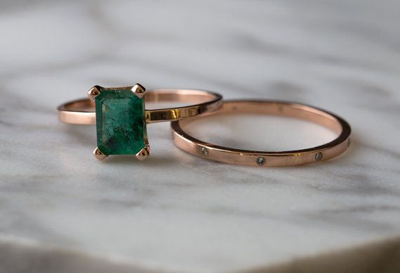 Custom Natural Emerald Ring by LexLuxe on Etsy