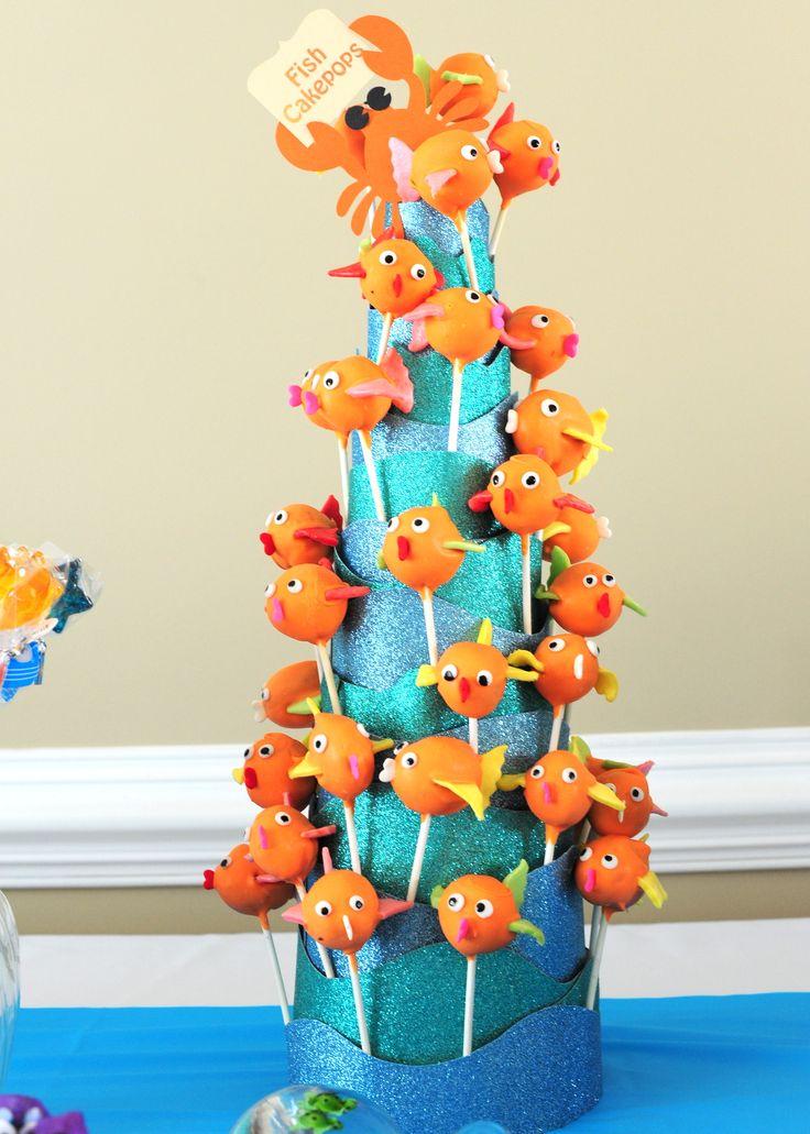 Lovely fish cakes pops. Lovely mermaid pop stand.