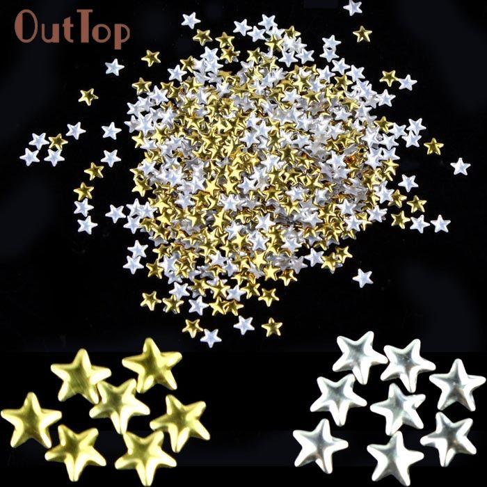 Салон Грил Ногтей Золото Серебро 5 мм Звездные Металлические Штыри для Ногтей Инструменты для Декорирования 24 Августа
