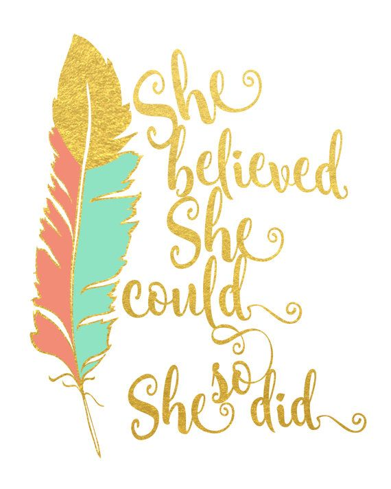 Mint and Coral Feather Print - Faux Gold Foil Print - Inspirational Art - She believed she could so she did - Coral and Mint Home Decor