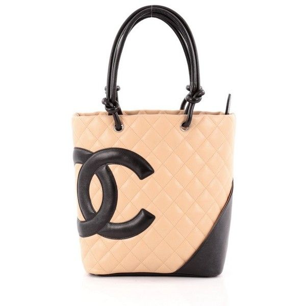 Pre-Owned Chanel Cambon Tote Quilted Leather Small ($730) ❤ liked on Polyvore featuring bags, handbags, tote bags, yellow, zip tote bag, yellow tote, colorful tote bags, zip top tote and zippered tote bag