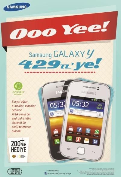 Sosyal ağlar hayatının vazgeçilmeziyse Samsung GALAXY Y, 429 TL fiyatıyla tam sana göre