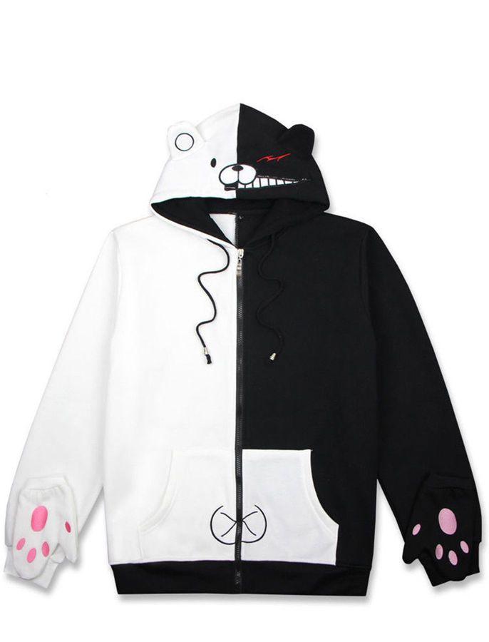 Danganronpa Monokuma Sweater Hoodie Sweatshirt Jacket Coat Cosplay Costume