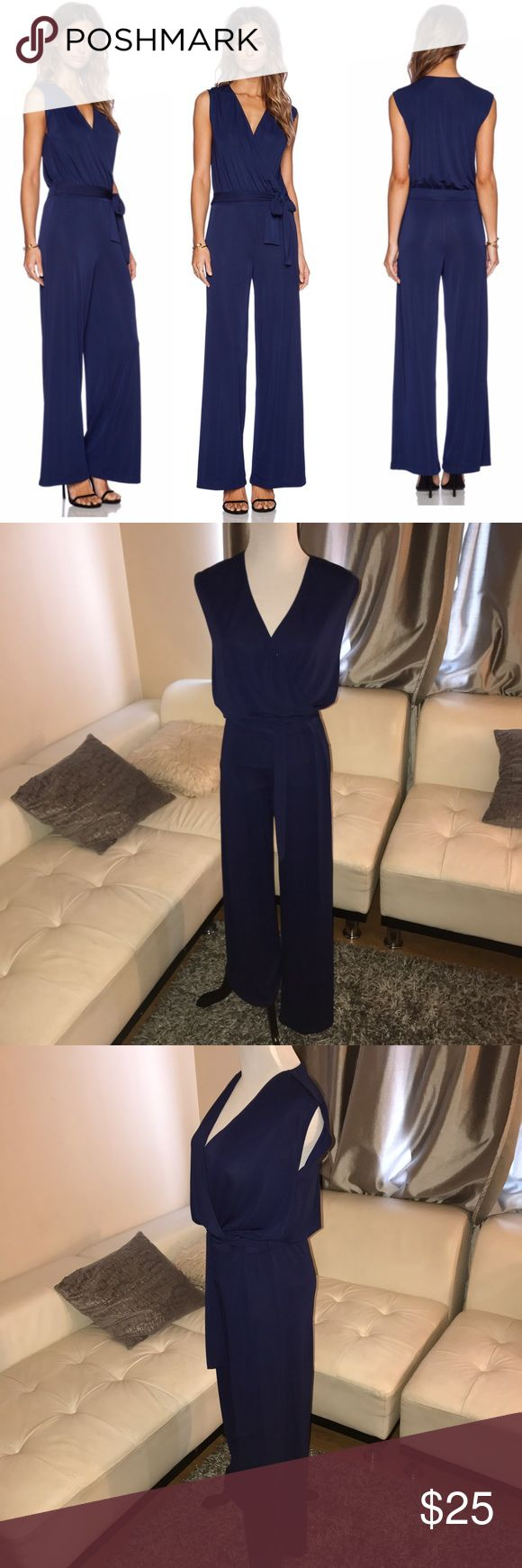 Bailey 44 Nautical Navy Jumpsuit The Nautical Jumpsuit by Bailey 44 is a sleeveless jumpsuit with cross-front top, tie detail at waist, and wide straight legs. Fabric 94% Polyester, 6% Spandex. Dry Clean Only. Bailey 44 Dresses