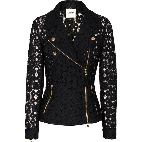 MOSCHINO Cheap and Chic Biker Lace Black Lace blazer in biker look found on Polyvore