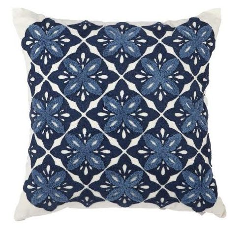 NEW in - our blue folk style embroidered cushion. Our blue folk cushion is just another must have piece in our newest cushion collection. The embroidered blue patterns and stitching give this cushion a warm and bohemian look for your home. Match with white and tan coloured furniture for maximum effect.