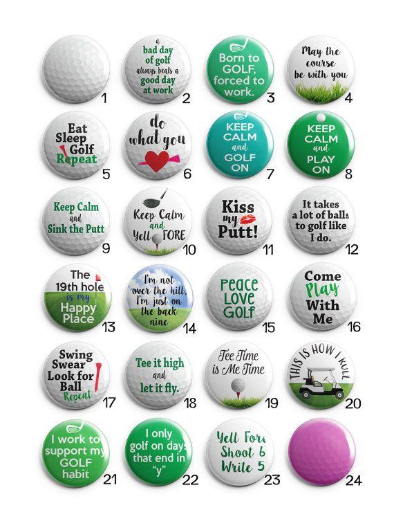 Humorous Golf Sayings Interchangeable Magnetic by HappyBugDesigns                                                                                                                                                                                 More