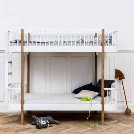 White & Oak Scandi Bunk Bed by Oliver with optional Drawer | Nubie - Modern Baby Boutique