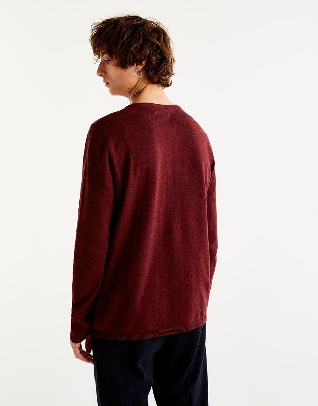 Camisola malha (borgonha): PULL&BEAR (15,99€)