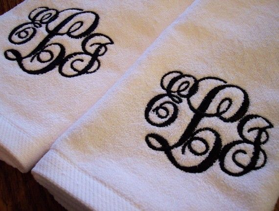Monogram Hand Towels  set of 2  CUSTOM by YourWayEmbroidery, $22.00