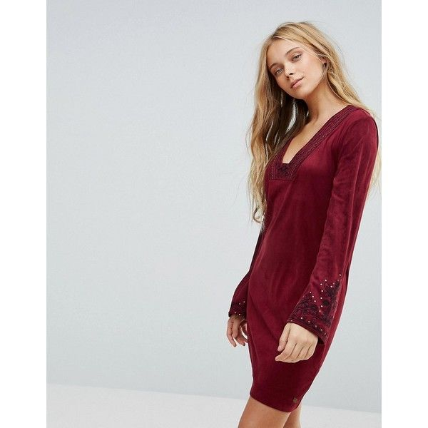 Pepe Jeans Bohemian Rhapsody Tunic Dress ($76) ❤ liked on Polyvore featuring dresses, red, bohemian style dresses, embelished dress, boho chic dresses, v neckline dress and embroidered dresses